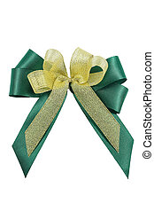 Green and Gold ribbon bow isolated.