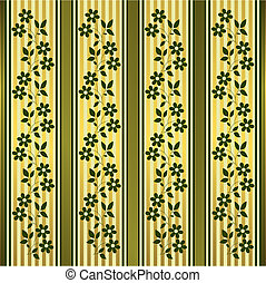 Green and golden floral stripes background