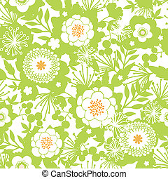 Green and golden garden silhouettes seamless pattern background