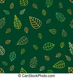 Green And Golden Leaves On Emerald Background