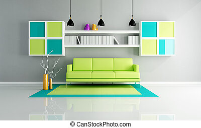 green and gray living room - green sofa on colored carpet in...