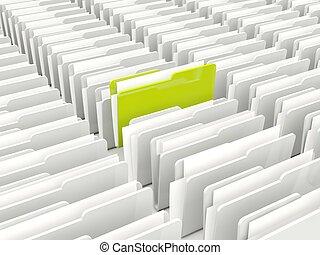 Green and grey folders