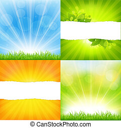 Green And Orange Backgrounds With Sunburst, Vector...