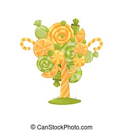 Green and orange candy on a magic tree. Vector illustration on white background.