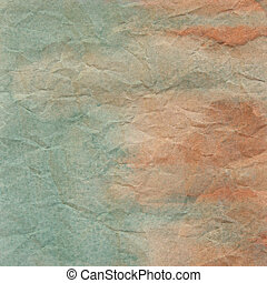 Green and orange crumpled paper for background