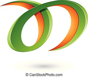 Green and Orange Curvy Letter A and D Vector Illustration