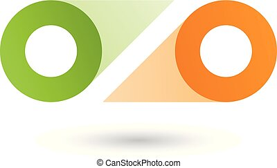 Green and Orange Double Letter O Vector Illustration
