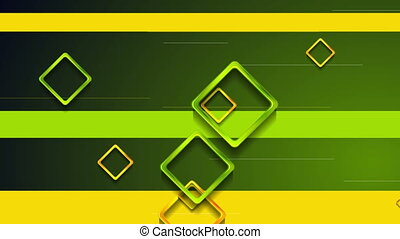 Green and orange glossy squares video animation - Green and...
