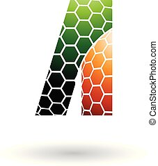 Green and Orange Letter A with Honeycomb Pattern Vector Illustration