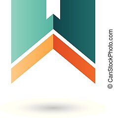 Green and Orange Letter W with a Thick Stripe Vector Illustration