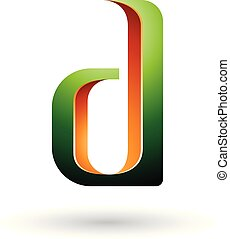 Green and Orange Shaded Letter D Vector Illustration