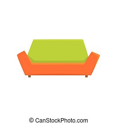 Green and orange sofa or couch, living room or office...