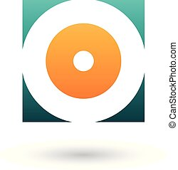 Green and Orange Square Icon of a Thick Letter O Vector Illustration