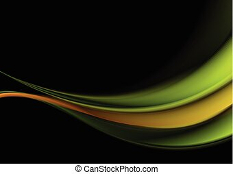 Green and orange waves on black background