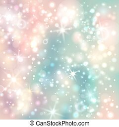 Green and pink abstract glitter background with bokeh defocused light and stars. Shiny silver lights