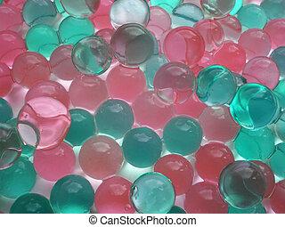Green and pink balls