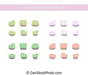 Green and pink bush vector set