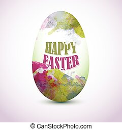 Green and Pink  Colorful Egg with watercolor effect for greeting card with 'Happy Easter' text. Artistic splashes.