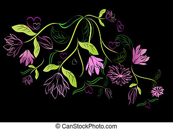 Green and pink floral design element on black background.