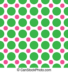 Green and Pink Polka Dots - A background pattern of...