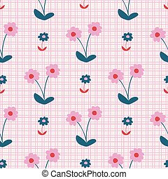 Green and Pink Textured Daisy Seamless Pattern
