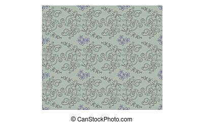 Green and purple floral wallpaper