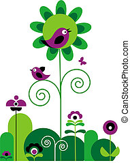 green and purple flowers with swirls with butterfly and birds