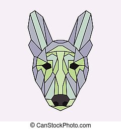 Green and purple low poly dog