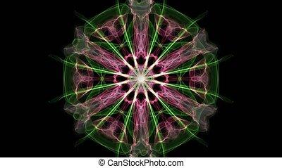 Green and purple mandala, fractal animation on black...