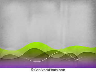 grey background - green and purple wave on the grey ...