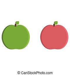 Green and red apple flat icon