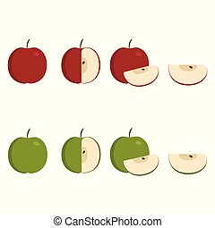 Green and red apple icons set in flat design