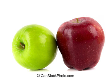 Green and Red apple, isolated on white background .