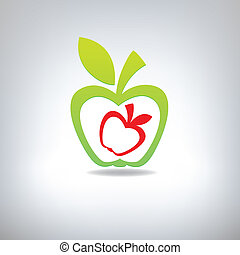 Green and red apple on a grey background. A vector illustration