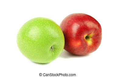 Green and red apples close up.