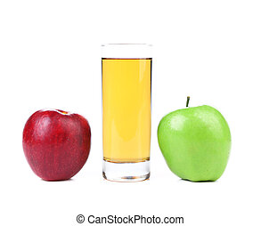 Green and red apples, juice isolated on white