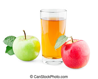 Green and red apples with leaf and juice