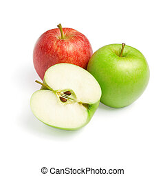 Green and red apples with slice