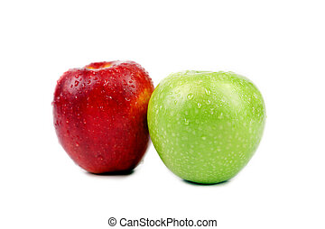 Green and red apples with water drops.