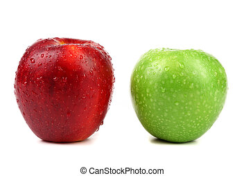 green and red apples with water drops