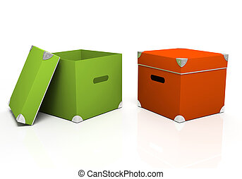 Green and red boxes isolated on background 3D