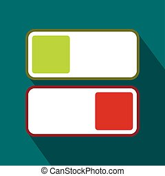 Green and red button icon, flat style