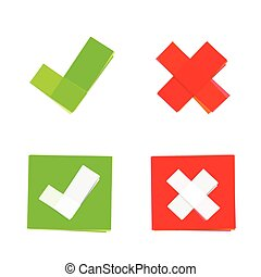 green and red check mark icons in adhesive tape style