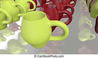 Green and red clay cups series