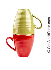 Green and red cups on white background