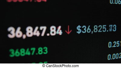 Green and red digits show currencies rates of exchange