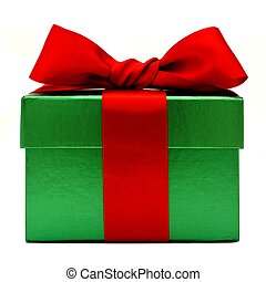 Green and red gift box - Green Christmas gift box with red...
