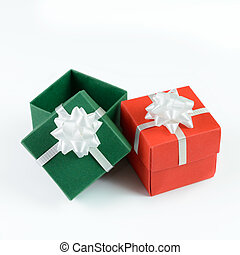 Green and red gift boxes