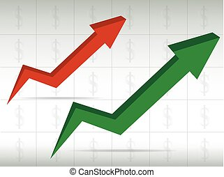 green and red graph arrow move up vector background