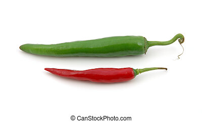 Green and red hot chili peppers